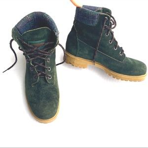 Wolverine Wilderness Green Suede Hiker Boots Plaid